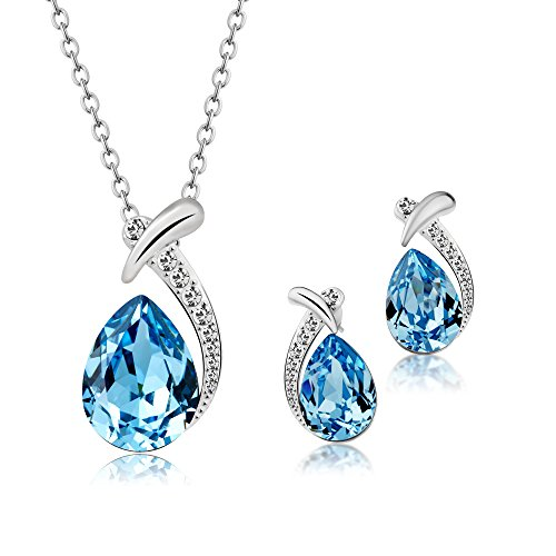 T400 Blue Waterdrop Swarovski Element Crystal Pendant Necklace & Stud Earrings Jewelry Set Birthday Gift For Women Girls
