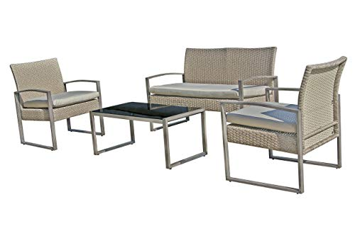 Small patio furniture set wicker loveseat outside table and chairs 4pcs patio bistro set deck furniture for front porch pool (Garden Rattan Furniture Synthetic)
