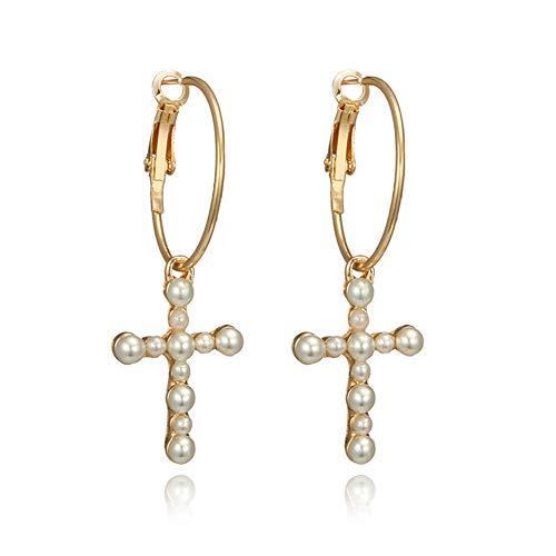Cross Pearl Hoop Earrings Geometric Hollow Circle Pearl Cross Dangle Drop Earrings for Women Girls Fashion Jewelry