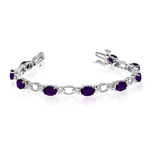 Diamond Open Link Tennis Bracelet (4.08 Carat (ctw) 14k White Gold Oval Amethyst and Diamond Open Link Tennis Bracelet - 7
