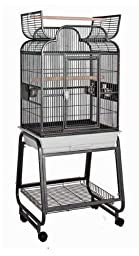 HQ 82217Cbk 22 in. x 17 in. Opening Scroll Top Cage with Cart Stand - Black
