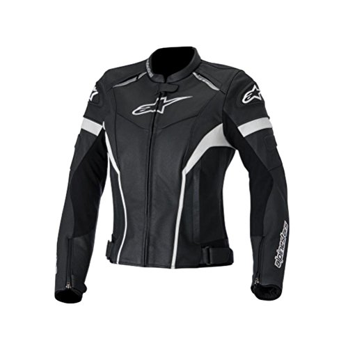 Alpinestars Stella GP Plus R Leather Womens Jacket, Gender: Womens, Primary Color: Black, Size: 46, Apparel Material: Leather, Distinct Name: Black/White 3110514-12-46