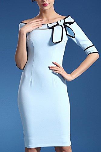 Bowknot trabajo fiesta cóctel lápiz Vestido de mujer manga 3/4 Blue