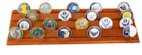 Display Coin Row (DECOMIL Military Challenge Coin Holder Stand (Walnut) (Wood, 4 Rows))