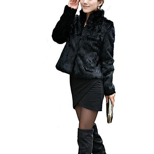 Terry Cover Cloth Halter (Toimoth Rabbit Fur Coat - Women Winter Knit Real Fur Jacket Outwear with Pocket(Black,L))