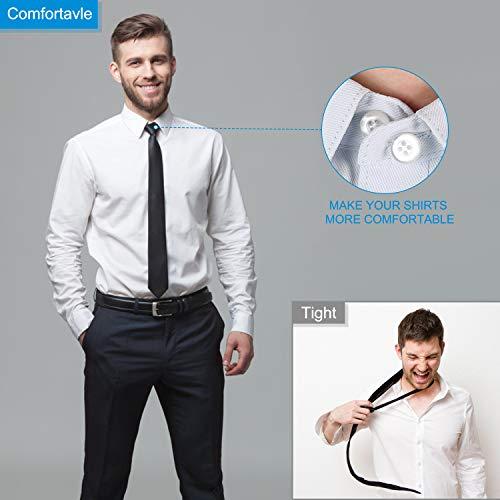 36 PCS Collar Extenders Plastic Shirt Neck Button Extenders Elastic Collar Extenders For Mens Dress Shirts Pants Jeans Coat Trouser(Black White Transparent)