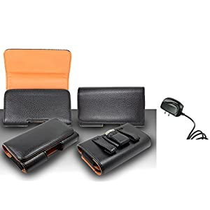For Samsung Galaxy Note 5 Premium Classic Black Pebble Texture Leather Belt Case Clip Holster Pouch (Fit for With Slim Case Together) + Travel (Wall) Charger