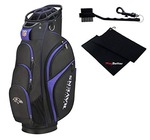 PlayBetter Wilson NFL Golf Cart Bag Bundle Microfiber Golf Towel & Club Cleaning Brush | Features 14-Full Length Dividers and Xtra Technology (Baltimore Ravens)