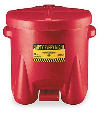 Eagle 935-FL Oily Waste Polyethylene Safety Can with Foot Lever, 10 Gallon Capacity, Red