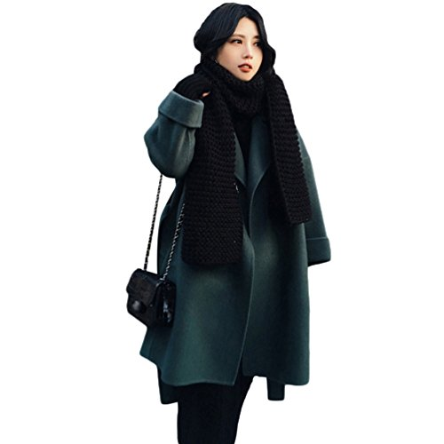 YAANCUN Mujer Estilo Coreano Solapa Invierno Abrigo Casual Chaqueta De Lana Parka Como La Imagen 1