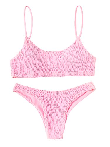 041f6cd38a3ef SweatyRocks Women's Sexy Bathing Suit Solid Color Halter Shirred Bikini  Swimsuit