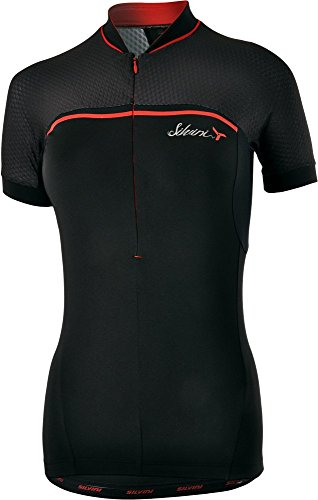 SILVINI Women's Mountain Bike Jersey Catirina in Black with Short Sleeves for Cycling and Mountain Bike-Red - Size S