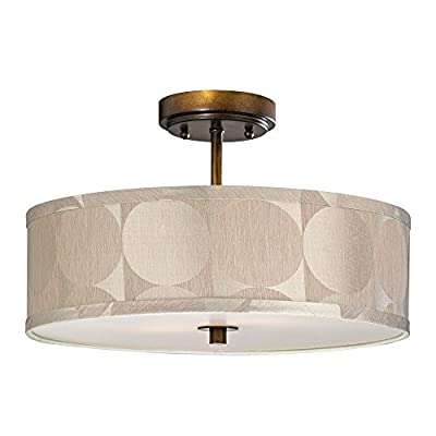 Bronze Drum Shade Semi-Flush Ceiling Light - 16-Inches Wide