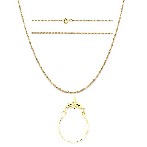 14k Yellow Gold Double Dolphins Charm Holder Pendant on 14K Yellow Gold Rope Chain Necklace, 18