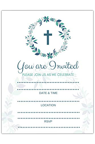 25 Religious Invitations - Boys or Girls -, Fill in Blank Cards Invites - Baptism, Confirmation, Holy Communion, Christening, Reconciliation, Baby Dedication with envelopes, 5x7 inches