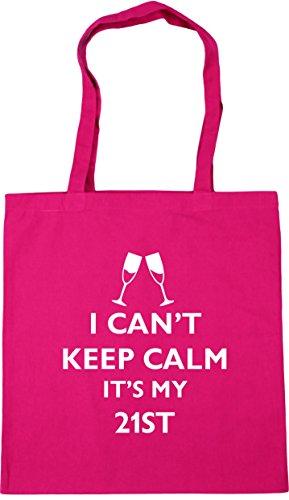 HippoWarehouse I can't keep calm it's my 21st Tote Shopping Gym Beach Bag 42cm x38cm, 10 litres Fuchsia