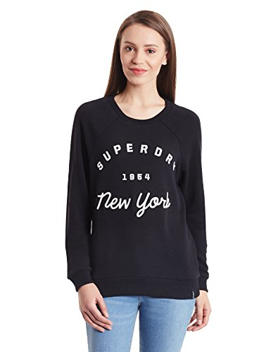 Superdry Women's Applique Raglan Women's Sweater In Grey 100% Cotton negro