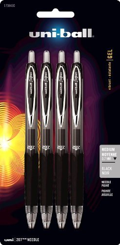 uni-ball Signo Gel 207 Retractable Gel Pens, Medium Point, 0.7 mm, Clear Barrels, Black Ink, Pack of 4