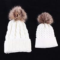Mum and Bub Matching Beanie Set, 2PCS Parent-Child Hat Warmer, Mom Baby Hat Set Soft Child Family Matching Winter Warm Crochet Beanie Hat Ski Cap (White)
