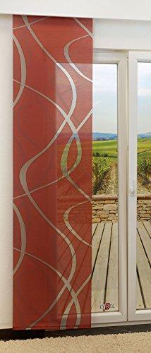 Schiebegardine von LYSEL® - Coloma transparent mit Linien in den Maßen 245 cm x 60 cm rot/korallenrot