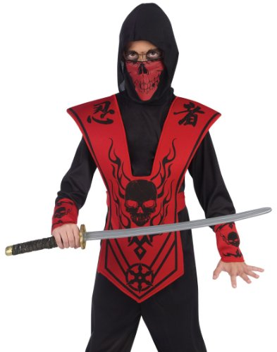 Skull Kid Costumes (Fun World Boys Red Black Skull Ninja Warrior Kids Halloween Costume Medium)