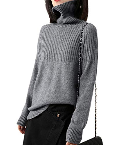 Cashmere Sweaters Women Loose Jumpers Wool Knit Split Thick Turtleneck Pullover Winter (M/US Size 8-10, Gray)