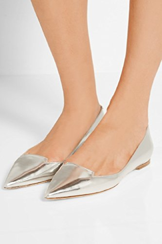 Kolnoo silver main Ballets Flats Style Chaussures Pointy Femmes New Pompes Black AqAwSxanrE