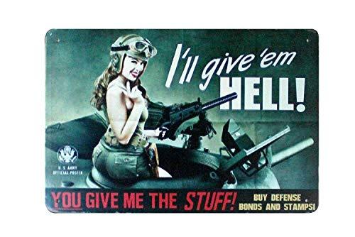 AlPrints ShopForAllYou Decor Signs I'll give 'em Hell tin Metal Sign Wire Rusty Replica Wall Art
