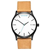 MVMT Watches Black Case with Tan Leather Strap Men's Watch