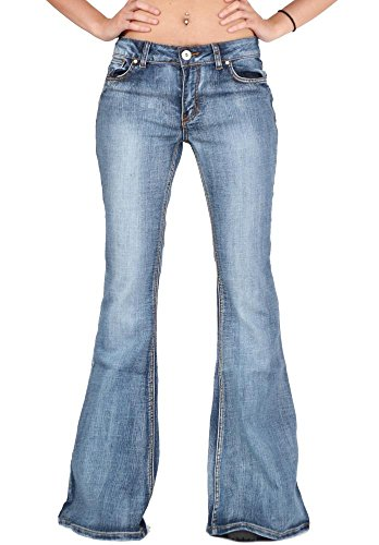 Glamour Outfitters Women's 60s 70s Bell-Bottom Wide Flared Jeans - Blue -
