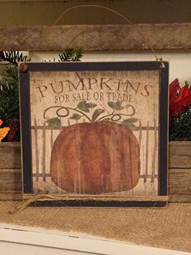 Amazoncom Primitive Pumpkin Sign Fall Decor Fall Pumpkin
