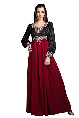 palasfashion Femme Noir Bordeaux Maxi robe avec hijab pour Musulmane