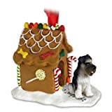 SCHNAUZER Dog GRAY Uncropped Ears NEW Resin GINGERBREAD HOUSE Christmas Ornament 103B