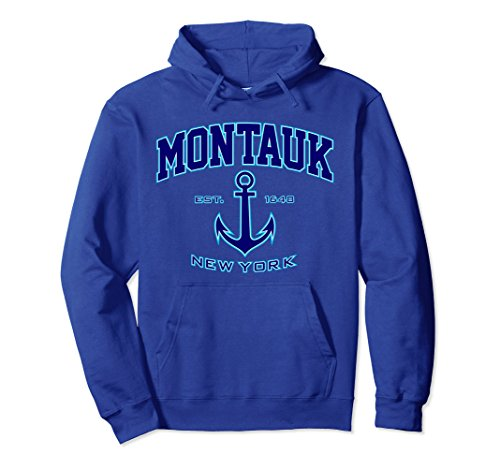 Montauk Apparel Blue (Unisex Montauk Hoodie for Women and Men (Blue/Aqua) Small Royal Blue)