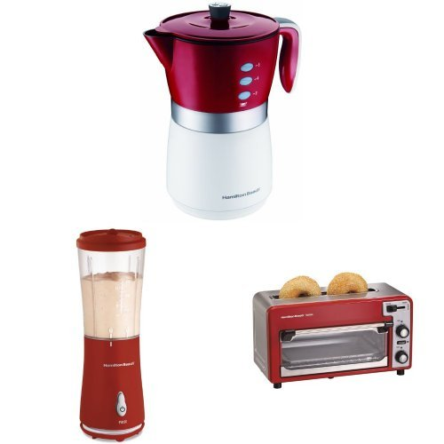 Hamilton Beach Coffee Maker, Toaster Oven, and Single-Serve Blender Bundle, Red by Hamilton Beach