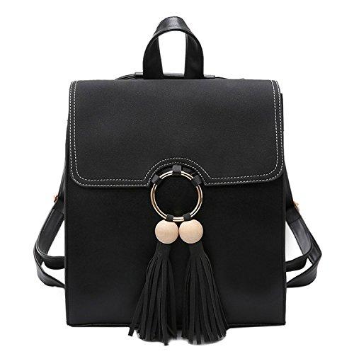 à Dos Black PU Trend Sac Femme Fashion Rétro Tassel Femmes ZHXUANXUAN zAHRq8gvR