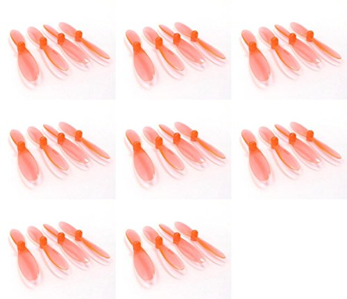 HobbyFlip Transparent Clear Orange Propeller Blades Props Rotor Set Compatible with Double Horse 9128 8 Pack ()