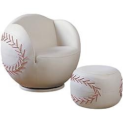 ACME 05528 2-Piece All Star Set Chair and Ottoman, Baseball