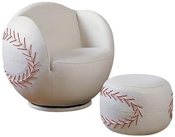 Acme 05528 2 Piece All Star Set Chair And Ottoman, Baseball