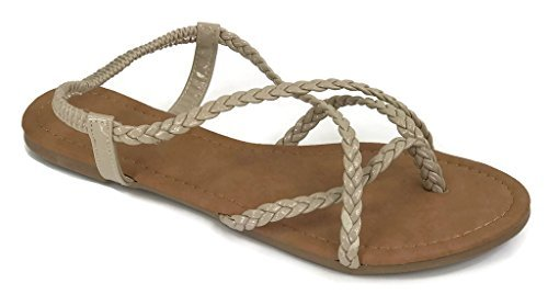 ANNA Women's Braided Strappy Gladiator Flat Sandal Y-Strap Thing Flip Flop Sandals