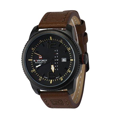 Boyiya WristWatches, Naviforce Fashion Men Sport Leather Waterproof Date Analog Quartz Wrist Watch (D)