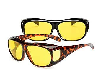 ZEVONDA Men Women Wear Over Sunglasses - UV400 Fit Over Glasses Set of 2 PCS Sunglasses and Night Driving Glasses, 2 Pieces Night Vision Glasses