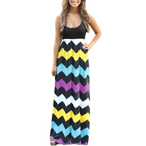 (Fanteecy Women Summer Beach Boho Sleeveless Loose Tank Striped Long Maxi Dress Plus Size (L, Multicolor))