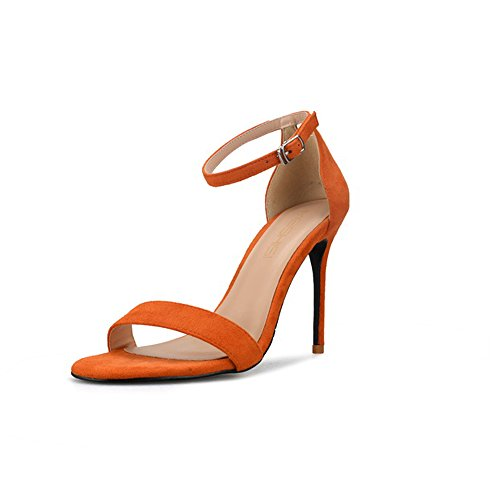 Arancia 10cm Sandali Aperta Allacciati Punta Sexy Tacchi Sandali Dimensioni Fini Grandi 42 Colore U4qxwf