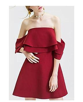 ZHUDJ Bridesmaid Vestido Novia Vestido Vestidos Tostadas Un Hombro Bridesmaid Muelle Rojo Hembra Banquetes Bra,