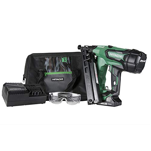 Hitachi NT1865DMA 18V Cordless Angled Finish Nailer, Brushless Motor, 15 Gauge, 1-1/4 to 2-1/2 Nails, Compact 3.0 Ah Lithium Ion Battery, Zero Ramp-Up Time, Lifetime Tool Warranty