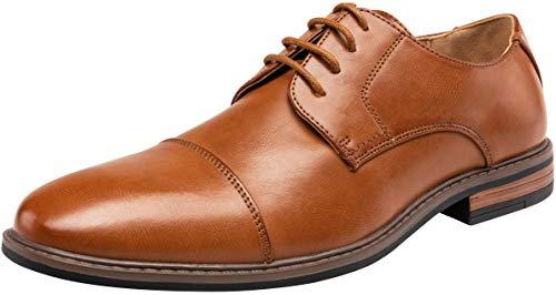 VEPOSE Men's Cap Toe Oxford Business Formal Lace Dress Shoes(11.5,Brown)