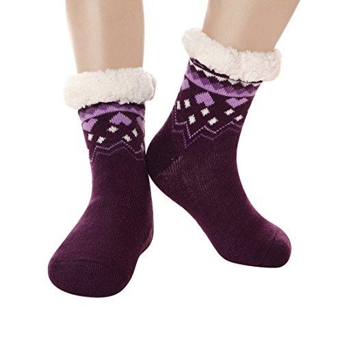 Furry Slipper Socks Women Non Slip Grippers Sherpa Fleece Lining Christmas Stockings Christmas Stocking Sock