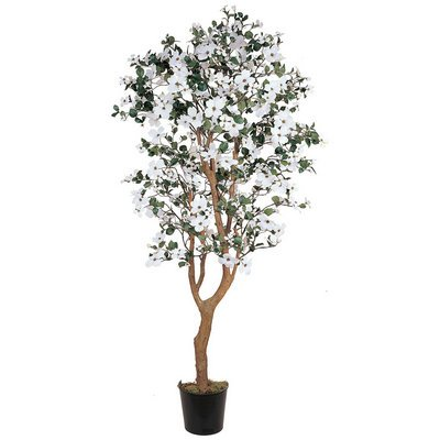 Nearly Natural Home Garden Décor 5' Dogwood Silk Tree White by Nearly Natural