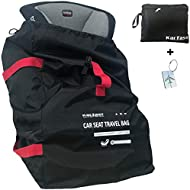 Car Seat Travel Bag Backpack for Air Travel - Karfast Universal Infant Carseat Gate Check Bag Cover for Airplane, Foldable with Pouch, Black